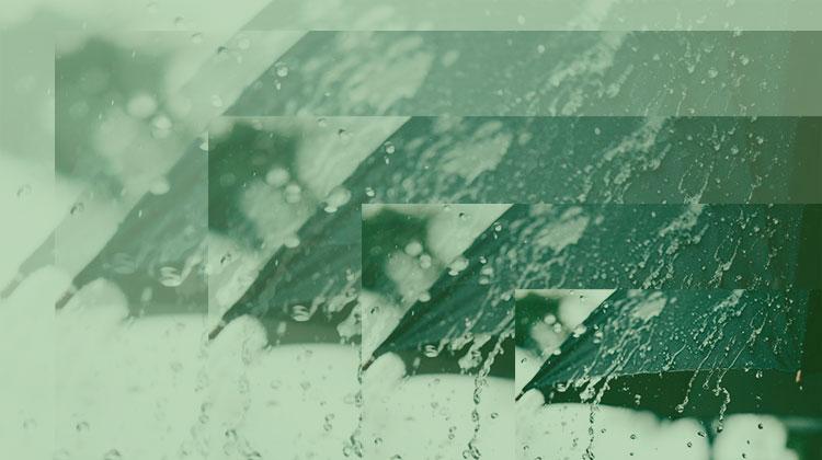 imagem de guarda-chuva com água escorrendo repetidas vezes